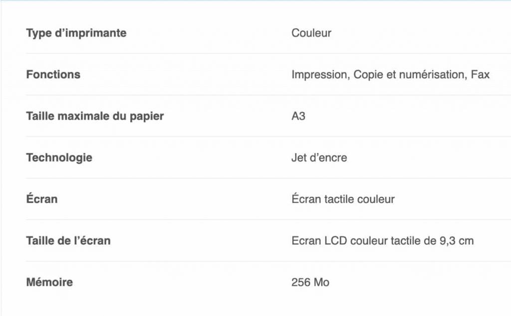 Les caractéristiques de l'imprimante Brother MFC-J6930DW dans un tableau