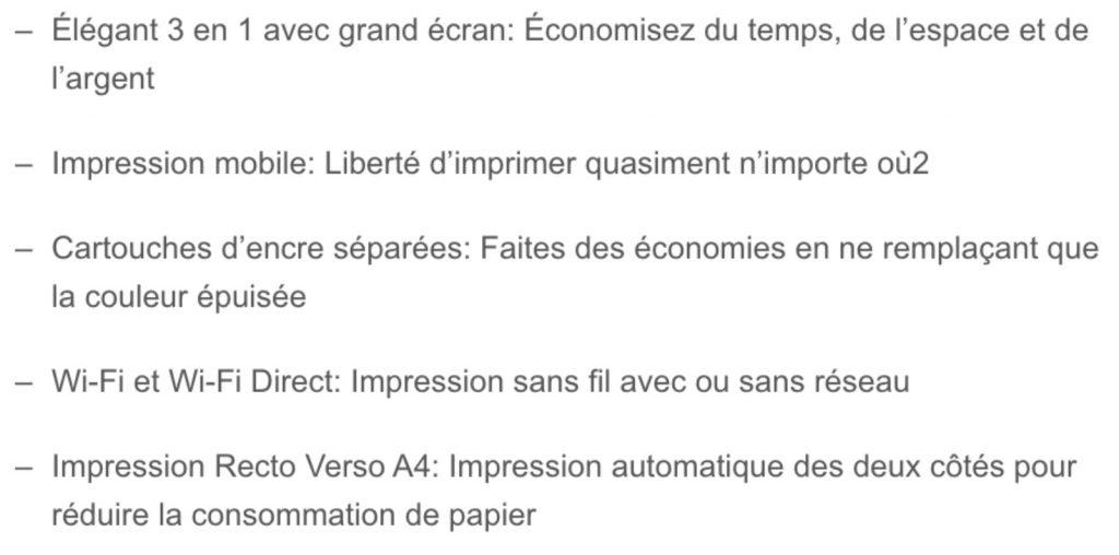 Les points forts de l'imprimante Epson XP-4100 résumé dans un tableau fournies par la marque Epson