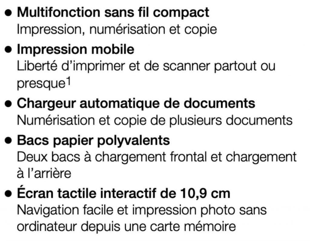 Les caractéristiques de l'imprimante Epson XP-7100