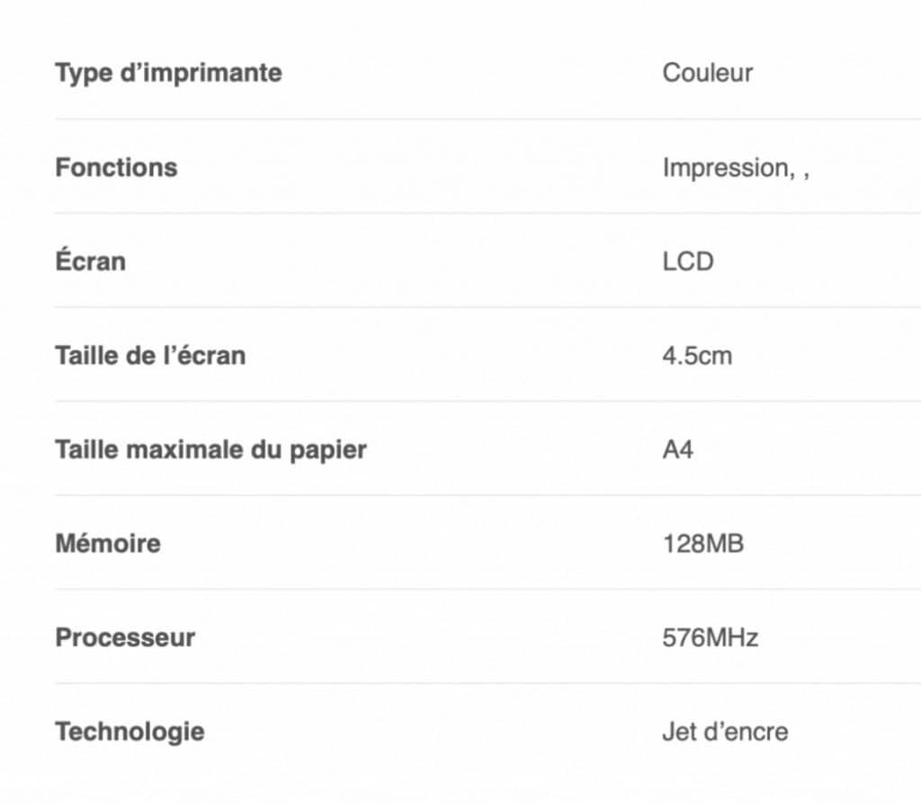 Les caractéristiques de l'imprimante  Brother DCP-J572D