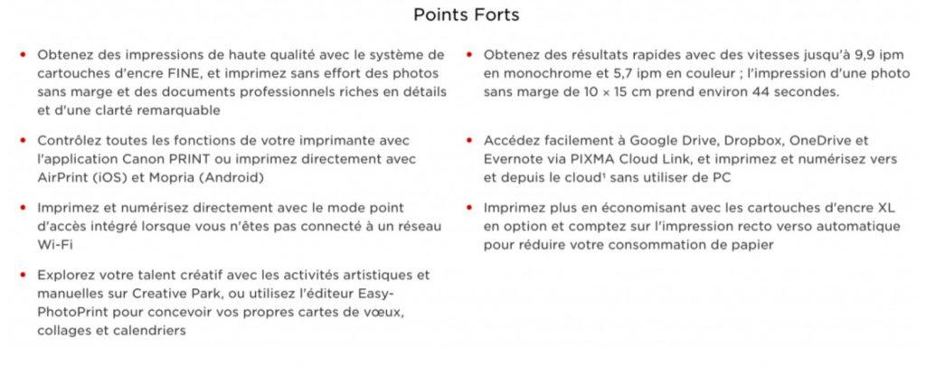 caractéristiques de la Canon PIXMA MG3650S