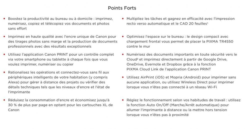 Les points forts de l'imprimante sur Canon Pixma TR4550