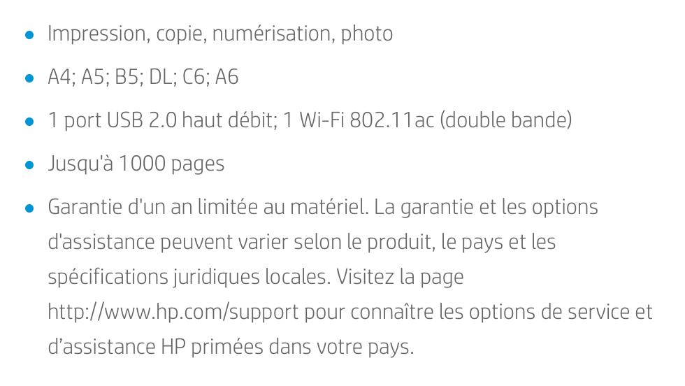Les points forts de l'imprimante HP Envy 6030 dans un tableau