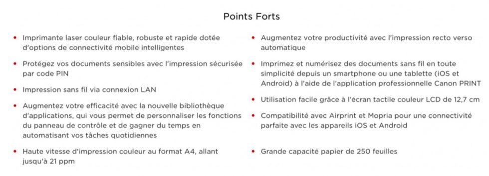 Les points forts de l'imprimante Canon i-SENSYS MF643CDW dans un tableau